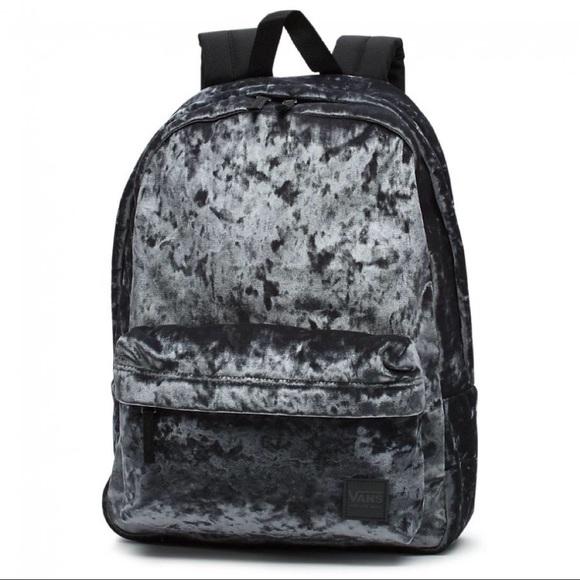 "c8bc71e5a2 Vans Grey Crushed Velvet ""Deana"" 2-Pocket Backpack.  M 5b7ad5a2477368cb0b09497d"